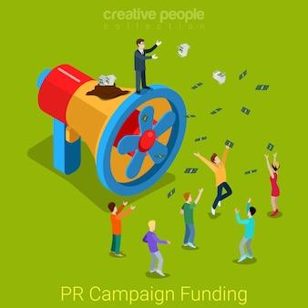 Pr-campagne financiering plat isometrische product service promo promotie concept zakenman luidspreker propeller verspilde geld afvoer.