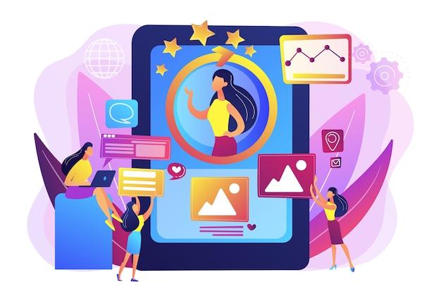 Pr-managers teamwerk, persoonlijke ontwikkeling. online identiteitsbeheer, digitaal identiteitsbeheer, productwebaanwezigheidsconcept.