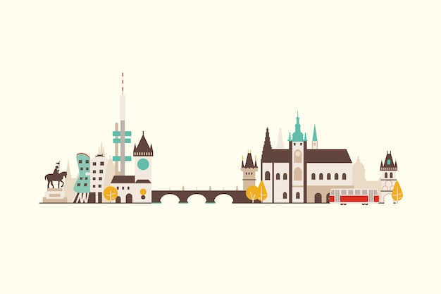 Praag skyline illustratie
