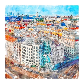 Praag tsjechië aquarel schets hand getrokken illustratie