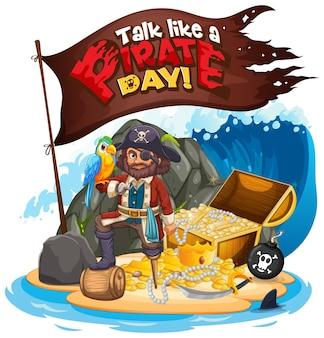 Praat als een piratendag-lettertype met captain hook on the island