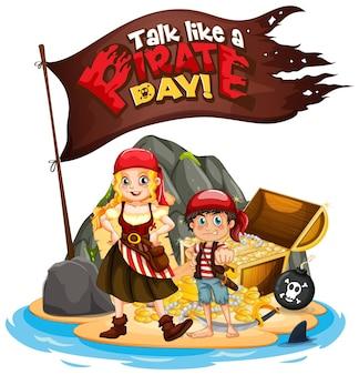 Praat als een piratendag-lettertypebanner met een stripfiguur voor piratenkinderen