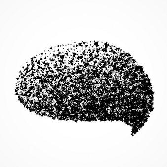 Praatjebel in abstracte deeltjes stijl