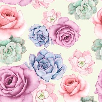 Prachtig aquarel bloemen naadloos patroonontwerp
