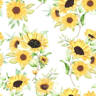 Prachtig aquarel zonnebloem naadloos patroon