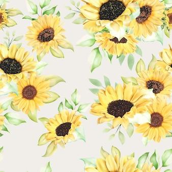 Prachtig aquarel zonnebloem naadloos patroon Gratis Vector