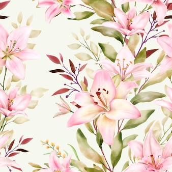 Prachtig aquarellelie naadloos patroon