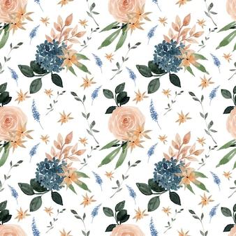 Prachtig blauw en perzik bloemen naadloos patroon