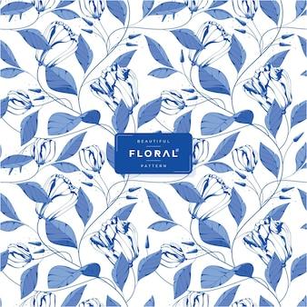 Prachtig blauw inkt bloemenpatroon
