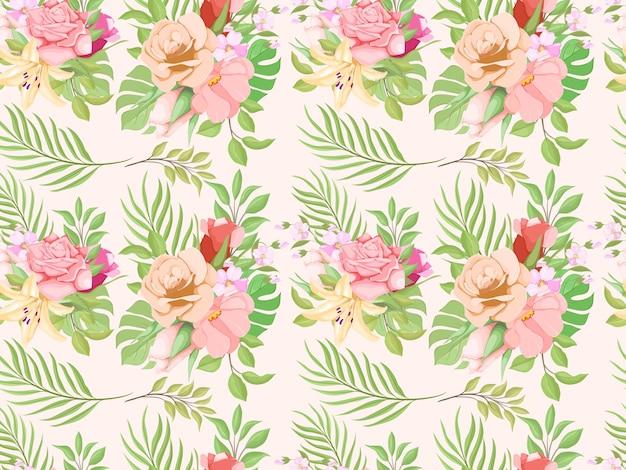 Prachtig bloemen naadloos patroon sjabloonontwerp
