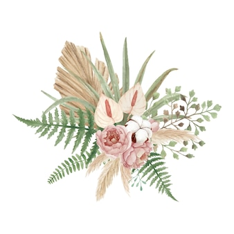 Prachtig bohemien bloemenboeket met pioenrozen