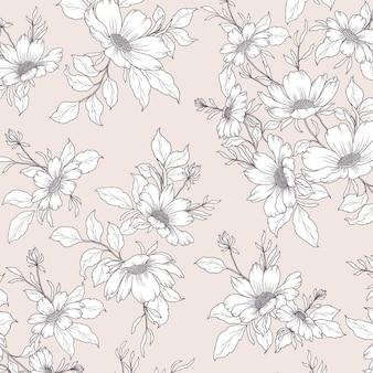 Prachtig bospatroon met wilde bloemen