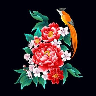 Prachtig chinees patroon met pioenrozen en vogel