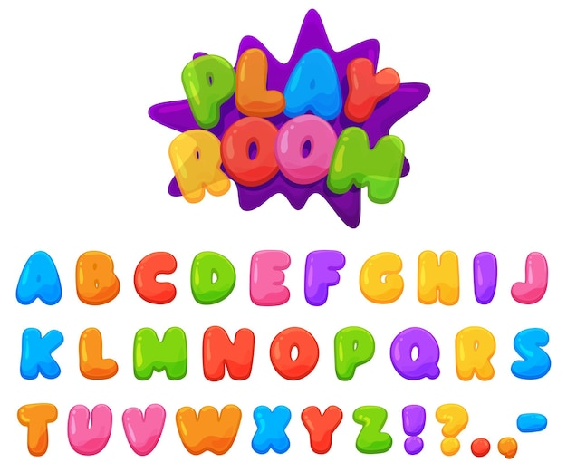 Prachtig gekleurd vrolijk kinderlettertype. mollige felgekleurde letters.