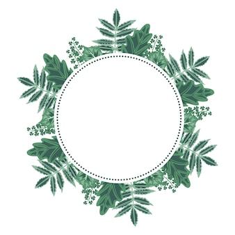 Prachtig groen blad floral krans frame plat