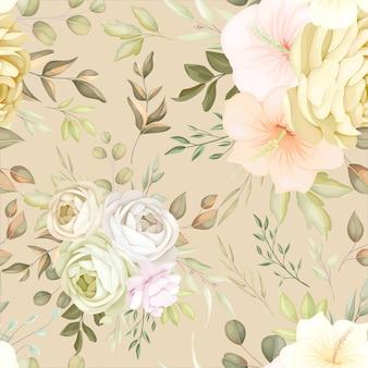 Prachtig herfst herfst bloemen naadloos patroon