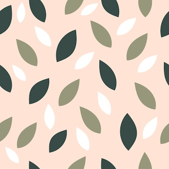 Prachtig lente naadloos patroon met eenvoudige bladeren in een vlakke stijl.