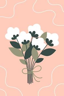 Prachtig lenteboeket met witte bloemen voor vrouwendag. illustratie op een roze achtergrond.