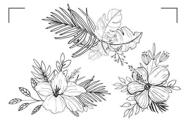 Prachtig lijnkunstboeket van bloemen en bladeren