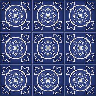 Prachtig naadloos patroon van donkerblauw en wit marokkaans
