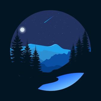 Prachtig nachtzicht in het bos