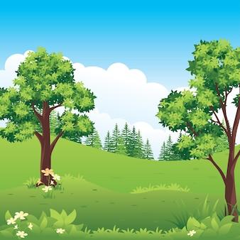 Prachtig natuurlandschap, cartoon plattelandslandschap met weilanden en velden.