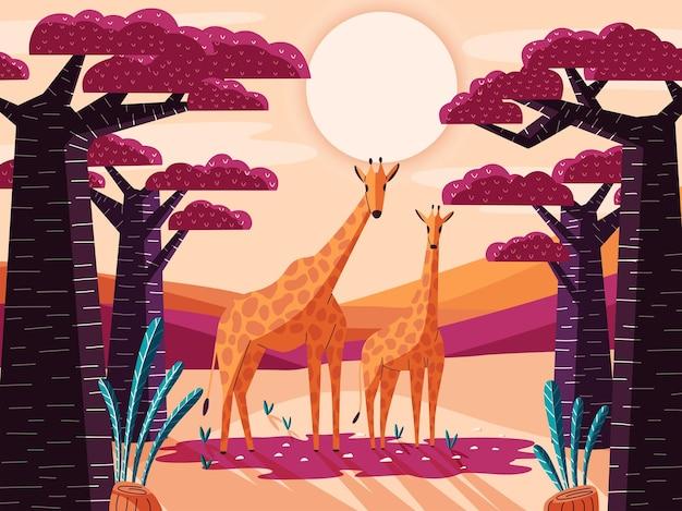 Prachtig natuurlijk savannelandschap met giraffen en baobabbomen.