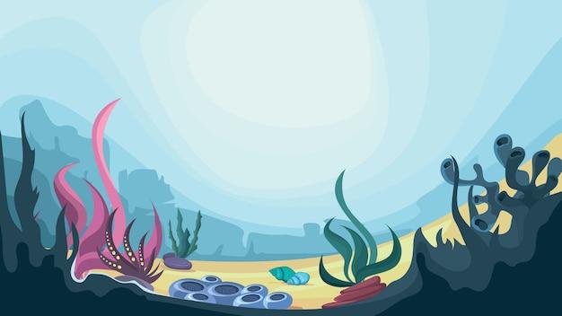 Prachtig onderwaterlandschap. oceaanbodem met algen en koralen.