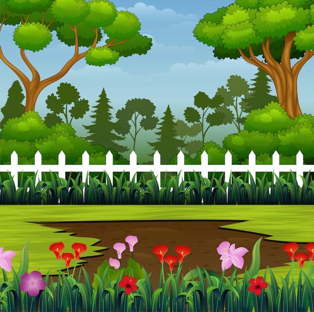 Prachtig park met modderige plas op de grond