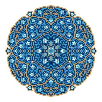 Prachtig rond arabeskpatroon in blauwe en bronzen kleur