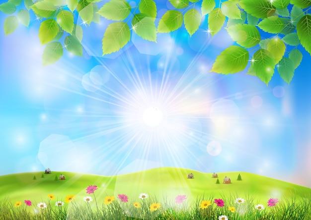 Prachtig uitzicht op bloementuinen en gras