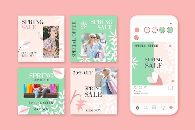 Prachtig voorjaarspost instagram-berichtenpakket