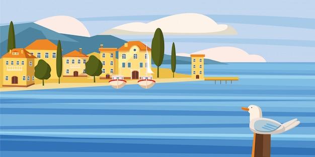 Prachtig zeegezicht, zuidelijke stad aan zee, huizen, cartoon, boten
