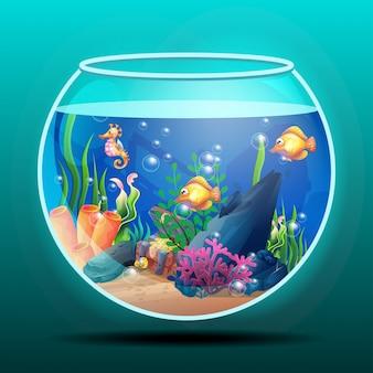 Prachtig zeeleven met verschillende soorten koraalriffen en kleurrijke vissen met 3d-concept