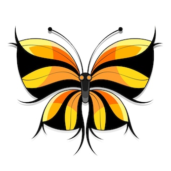 Prachtige aquarel abstracte doorschijnende vlinder op de witte achtergrond. vleugels zien eruit als nat waterverfspatten.