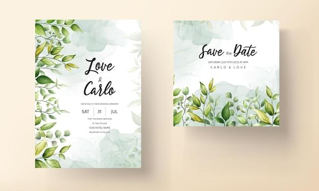 Prachtige aquarel blad bruiloft uitnodigingskaart met alcoholinkt