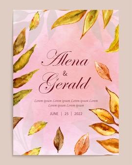 Prachtige aquarel bloem bruiloft kaart uitnodiging sjabloon