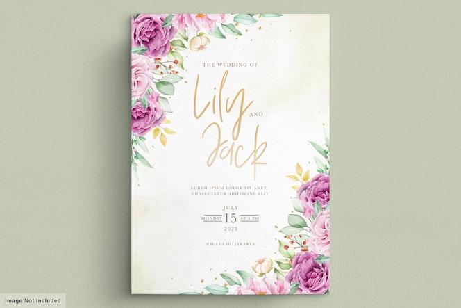 Prachtige aquarel bloemen bruiloft kaart