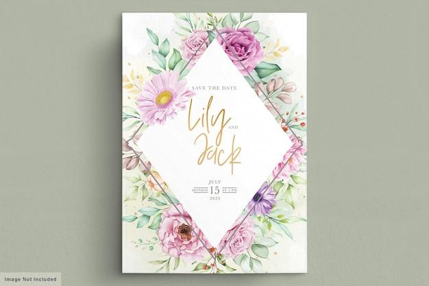 Prachtige aquarel bloemen bruiloft kaart Premium Vector