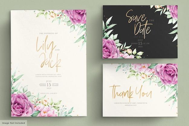 Prachtige aquarel bloemen bruiloft kaartenset Premium Vector
