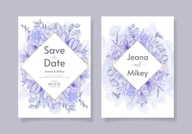 Prachtige aquarel bloemen bruiloft uitnodiging sjabloon