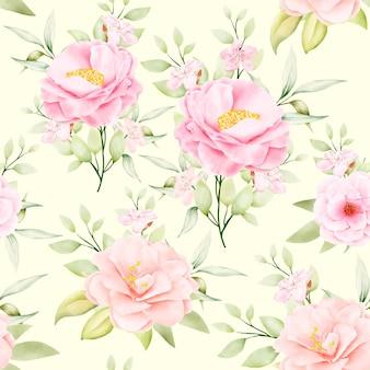Prachtige aquarel bloemen en bladeren naadloos patroon