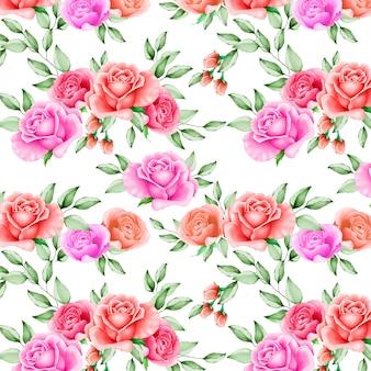 Prachtige aquarel bloemen en bladeren naadloze patroon