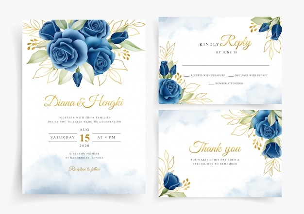 Prachtige aquarel bloemen krans op bruiloft uitnodiging kaartsjabloon