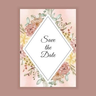 Prachtige aquarel bloemenlijst met ruimte voor bruiloft uitnodiging