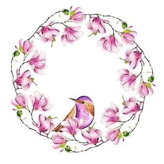 Prachtige aquarel bloemenlijst met vogels
