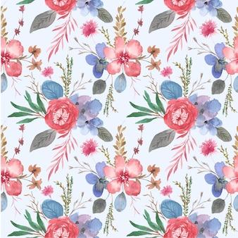 Prachtige aquarel bloementuin naadloze patroon