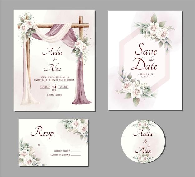 Prachtige aquarel bruiloft uitnodiging