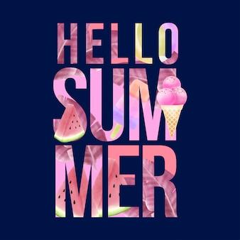 Prachtige aquarel hallo zomer belettering