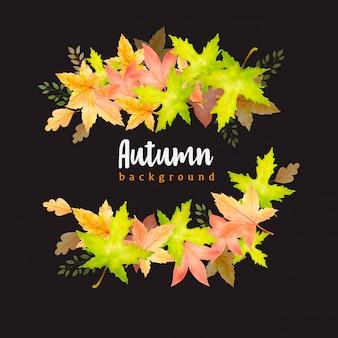 Prachtige aquarel herfstbladeren krans achtergrond sjabloon